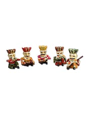 Craft Traditional Rajasthani Handicraft Wooden Musician Bawla Showpiece Set Of 5, 4 Inches - By