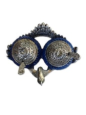 Craft Traditional Rajasthani Handicraft Metal Double Duck Bowl - Silver And Glass Decorative Blue Color Peacock Platter - By