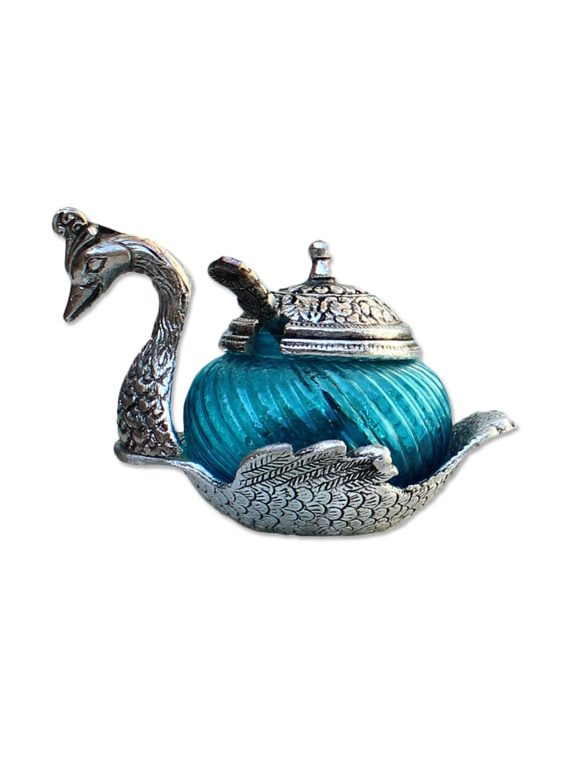 Craft Traditional Rajasthani Handicraft Metal Single Duck Bowl - Silver And Glass Decorative Sky Blue Color Peacock Platter - By
