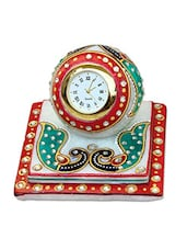 Crafticia Craft Traditional Rajasthani Handicraft Marble Analog Multicolor Clock - By