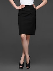 Black Cotton Lycra Formal Skirt - Kaaryah