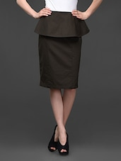Olive Green Cotton Lycra Peplum Skirt - Kaaryah