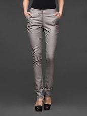 Light Grey Skinny Fit Formal Trousers - Kaaryah