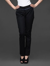Black Stretchable Straight Fit Formal Trousers - Kaaryah
