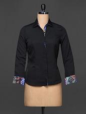 Black Printed Cuff And Collar Formal Shirt - Kaaryah