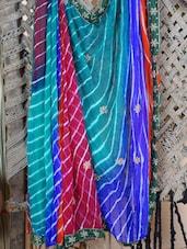 Multi Color Lehariya Hand Work Saree - Lazza
