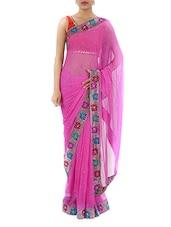 Chiffon Saree With Floral Border - Lazza