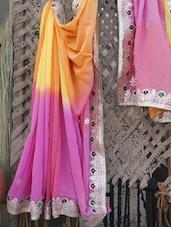 Color Block Gota Embroidered Saree - Lazza