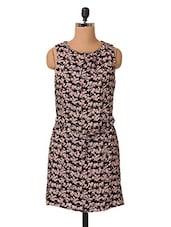 Floral Printed Round Neck Viscose Dress - Oxolloxo