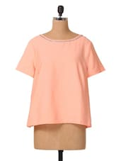 Short Sleeves Embellished Neck Polyester Top - Oxolloxo