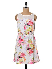 Floral Printed Polyester Sleeveless Dress - Oxolloxo