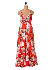 Floral Printed Polyester Maxi Dress - Oxolloxo