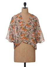 Floral Printed Polyester Shrug - Oxolloxo
