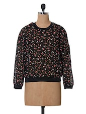 Floral Printed Polyester Round Neck Top - Oxolloxo