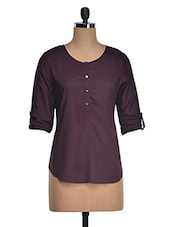 Roll-up Sleeves Button Down Cotton Top - Suhilyana