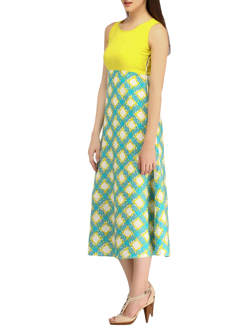 Yellow Colored Crepe A Line Dress By Color Fuel Online Ping For Dresses In India 10282684