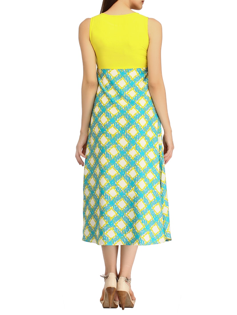a34185a56b Buy Yellow Colored Crepe A Line Dress by Color Fuel - Online shopping for  Dresses in India