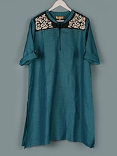 Teal Green  Embroidered Roll-Up Sleeves Kurti - PLUSS