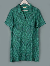 Green Checks Print Cotton Shirt - PLUSS