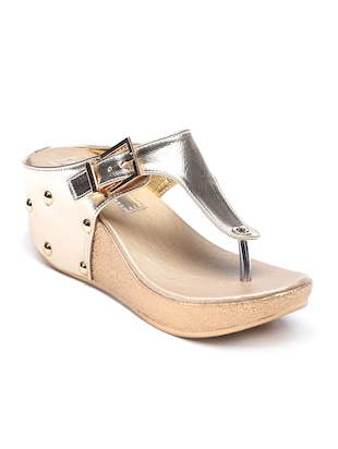 gold  open thong  wedge -  online shopping for wedges