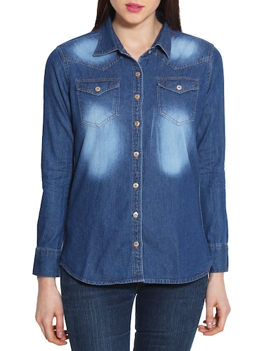 dark blue denim shirt - 10288857 - Standard Image - 1