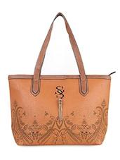 Textured Tan PU Handbag - LOZENGE