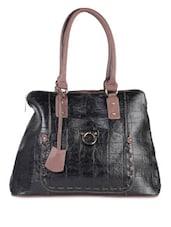 Textured Black Formal Handbag - LOZENGE