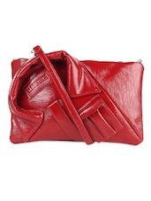Textured Red Faux Leather Sling Bag - LOZENGE