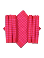 Dhrohar Hand Woven Cotton Table Runner And Mat Set - Set Of 7 - Pink Check - By