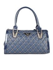 Solid Blue PU Handbag - LOZENGE