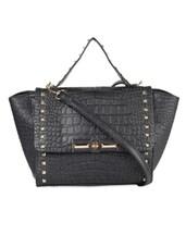 Solid Black Embellished Handbag - LOZENGE