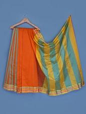 Silk Saree With Stripes Zari Border - INDI WARDROBE