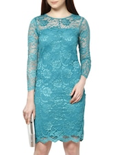 Turquoise Blue Bodycon Lace Dress - MARTINI