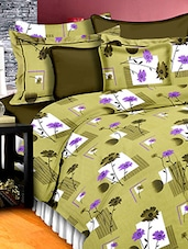 Green Cotton Floral Printed Double Bedsheet Set - Snuggles