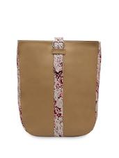 Beige Leatherette Printed Handbag - Bagsy Malone