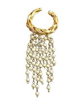 Adjustable 18 Kt Gold Plated Wired Ganthan Pearl Ring - Rejuvenate Jewels