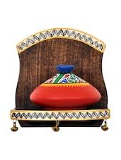 Handmade Wooden Single Wall Shelf With Pot - VarEesha Décor