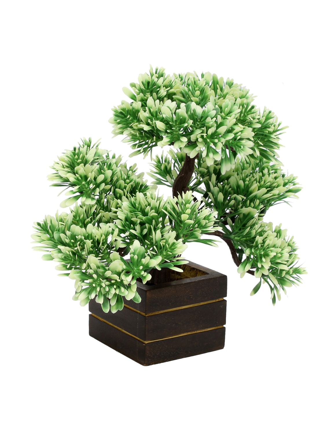 Buy Random Artificial Potted Bonsai Tree With Green And White Leaves