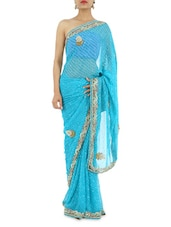 Turquoise Blue Hand Work Leheriya Saree - Manaysa