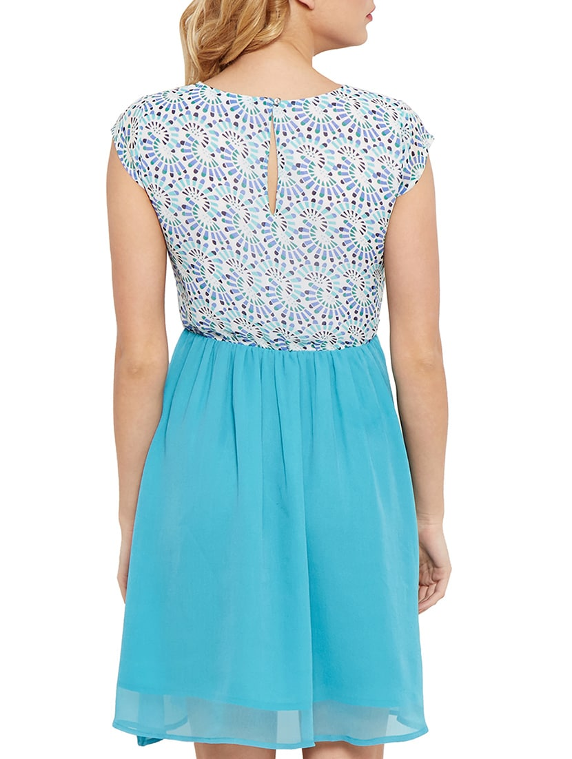 e6efb85cf6 Buy The Vanca Sky Blue Printed And Gathered Poly Georgette Skater Dress by The  Vanca - Online shopping for Dresses in India