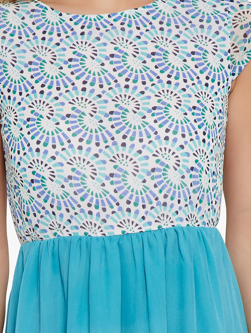 676981f173 ... the vanca sky blue printed and gathered poly georgette skater dress -  10315154 - Zoom Image