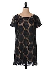 Black Floral Lace Lace Dress - The Vanca