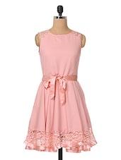Pink Plain Solid Polycrepe & Lace Dress - The Vanca