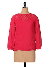 Pink Round Neck Polyester Top - The Vanca