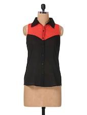 Black, Red Shirt Collar Cotton Top - The Vanca