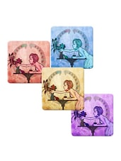 """Girl With Birds"" Printed Mdf Coaster Set - Shopkeeda"