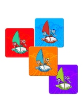 """Boy And Girl In Boat"" Printed Mdf Coaster Set - Shopkeeda"