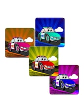 """Fire Car"" Printed Mdf Coaster Set - Shopkeeda"