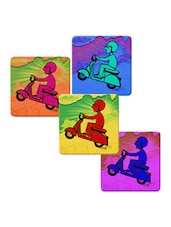 """Man In Scooter"" Printed Mdf Coaster Set - Shopkeeda"
