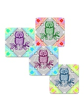 """Owl On Leaves"" Printed Mdf Coaster Set - Shopkeeda"